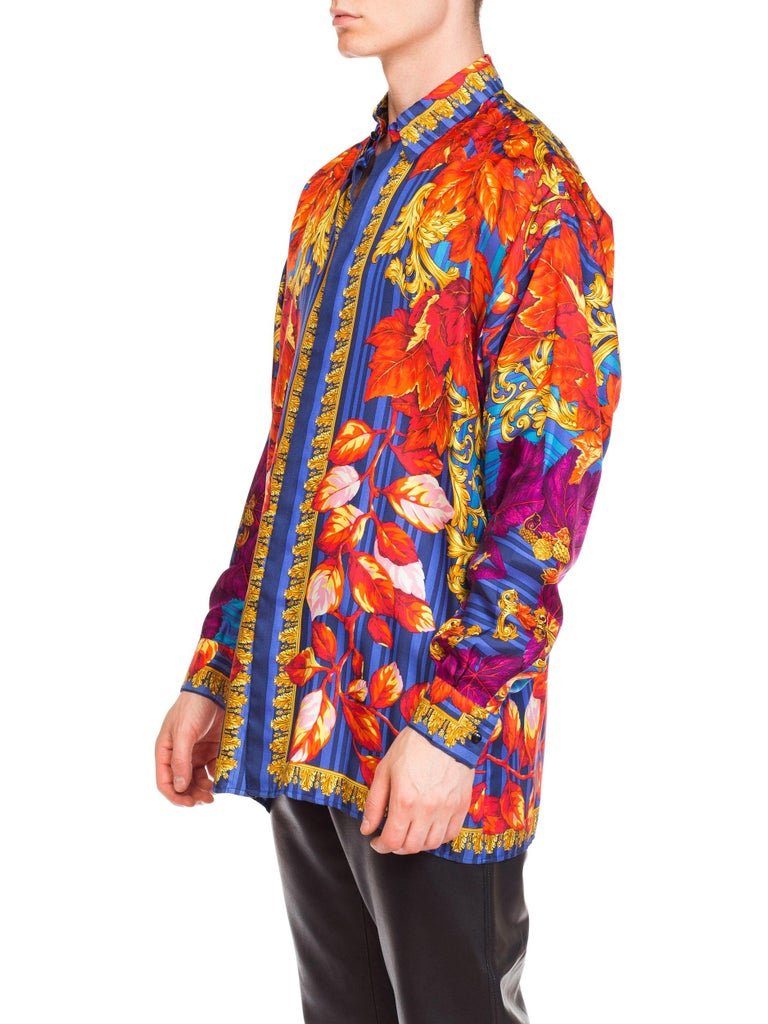Men's 1990s Versace Istante Gold Baroque Silk Shirt