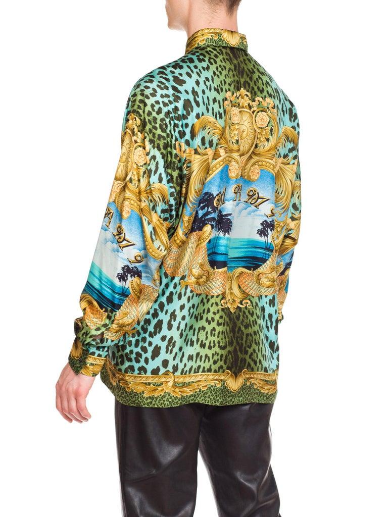 Gianni Versace Miami Leopard Baroque Silk Shirt, 1990s  2