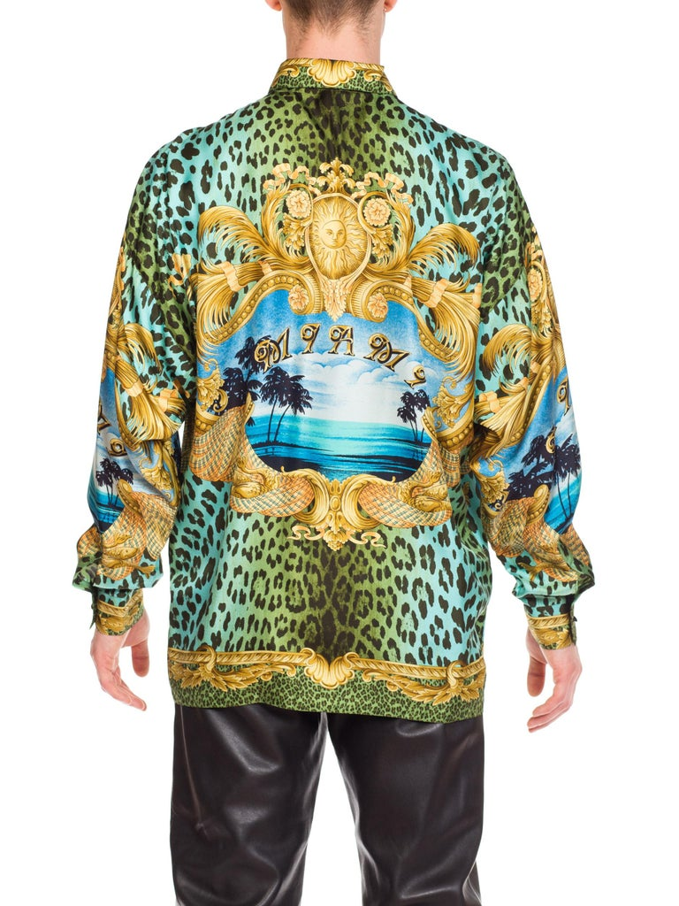 Gianni Versace Miami Leopard Baroque Silk Shirt, 1990s  3