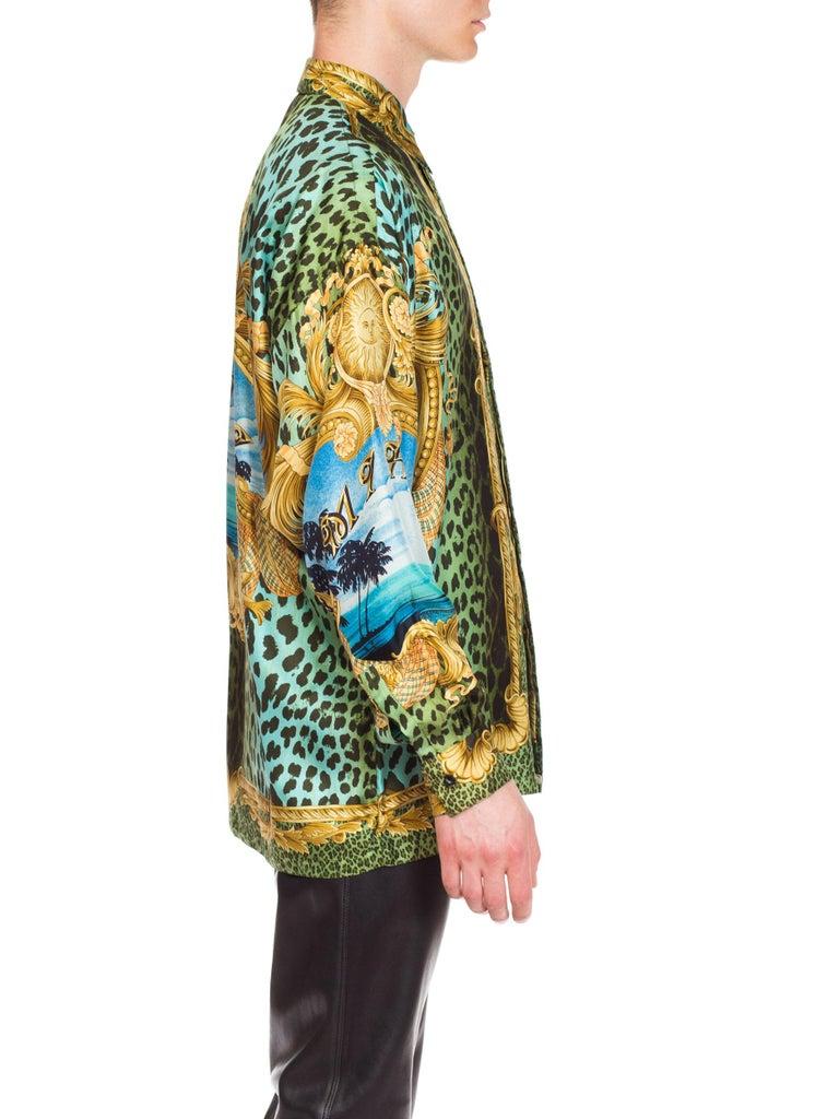 Gianni Versace Miami Leopard Baroque Silk Shirt, 1990s  6
