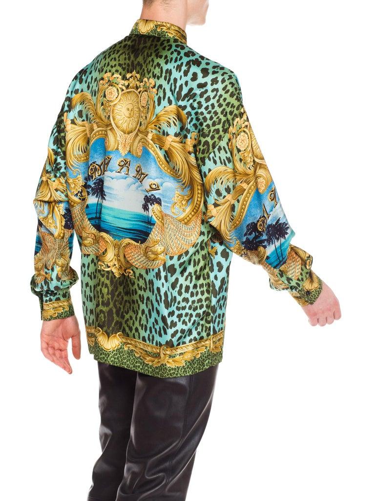 Gianni Versace Miami Leopard Baroque Silk Shirt, 1990s  5
