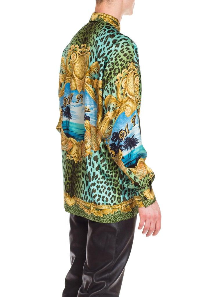 Gianni Versace Miami Leopard Baroque Silk Shirt, 1990s  4