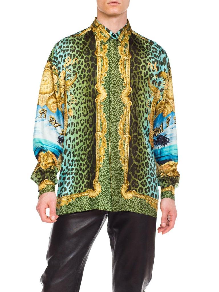 Gianni Versace Miami Leopard Baroque Silk Shirt, 1990s  8