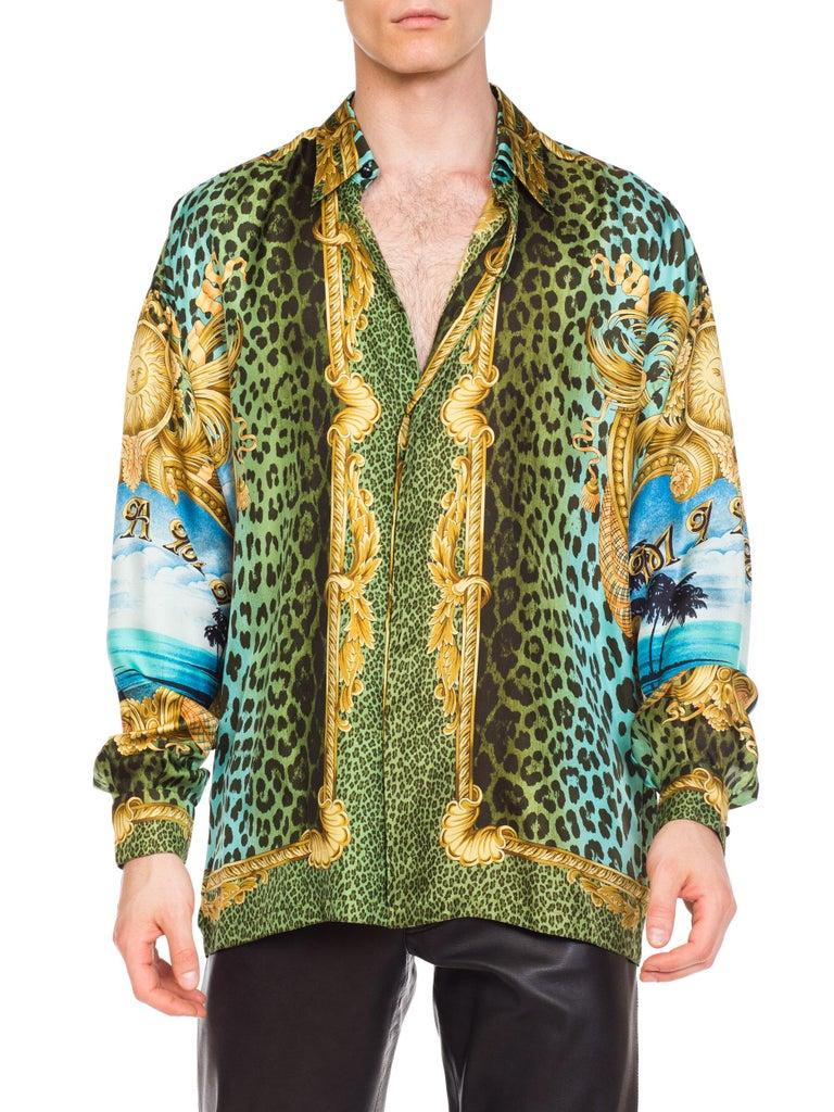 Gianni Versace Miami Leopard Baroque Silk Shirt, 1990s  9