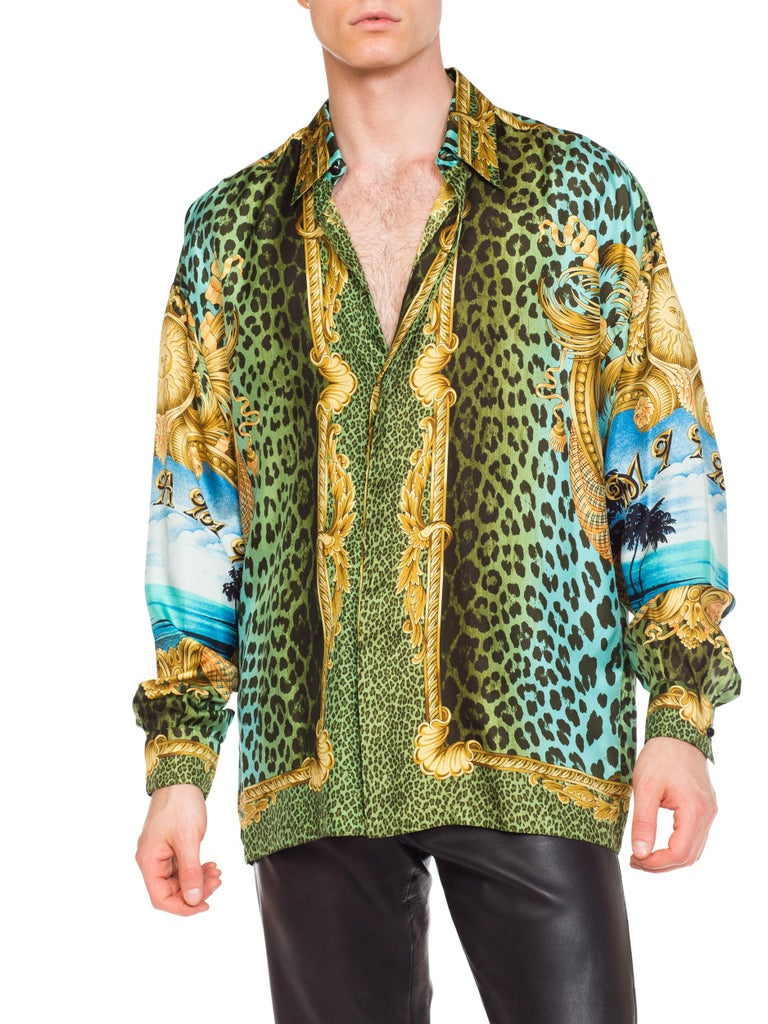 Gianni Versace Miami Leopard Baroque Silk Shirt, 1990s  10