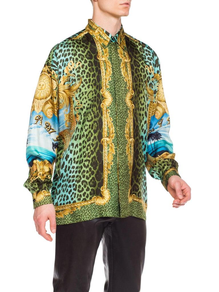 Gianni Versace Miami Leopard Baroque Silk Shirt, 1990s  7
