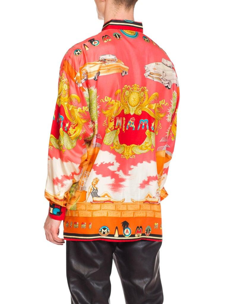 1990s Mens Gianni Versace South Beach 50s Pin Up Cadellac Silk Shirt Miami 3