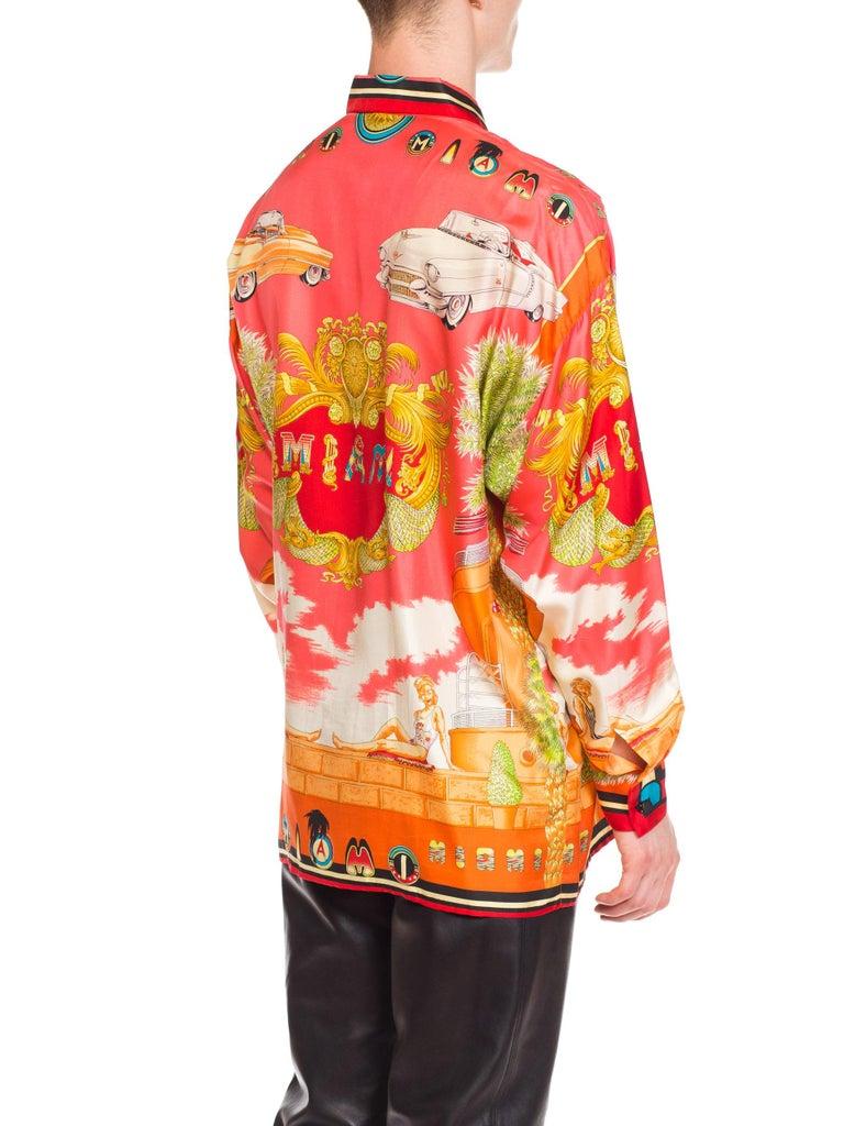 1990s Mens Gianni Versace South Beach 50s Pin Up Cadellac Silk Shirt Miami 5