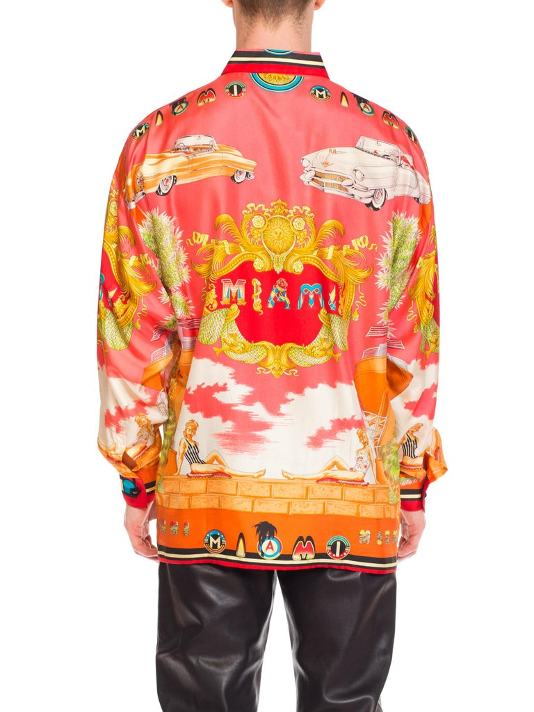 1990s Mens Gianni Versace South Beach 50s Pin Up Cadellac Silk Shirt Miami 4