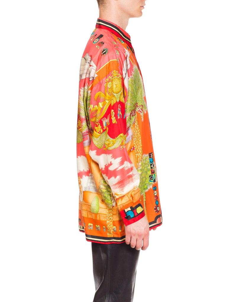 1990s Mens Gianni Versace South Beach 50s Pin Up Cadellac Silk Shirt Miami 6