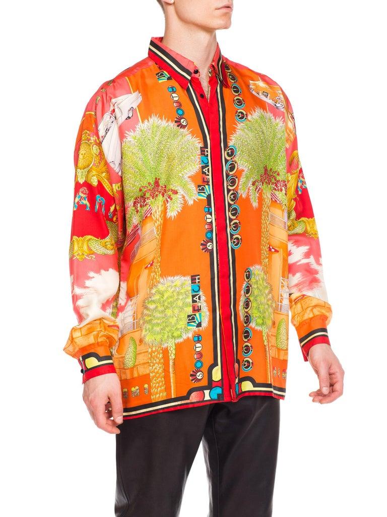1990s Mens Gianni Versace South Beach 50s Pin Up Cadellac Silk Shirt Miami 7