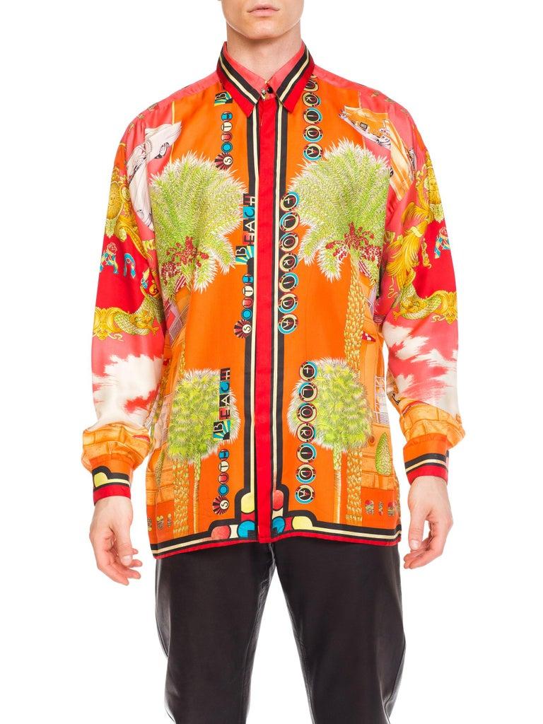 1990s Mens Gianni Versace South Beach 50s Pin Up Cadellac Silk Shirt Miami 9