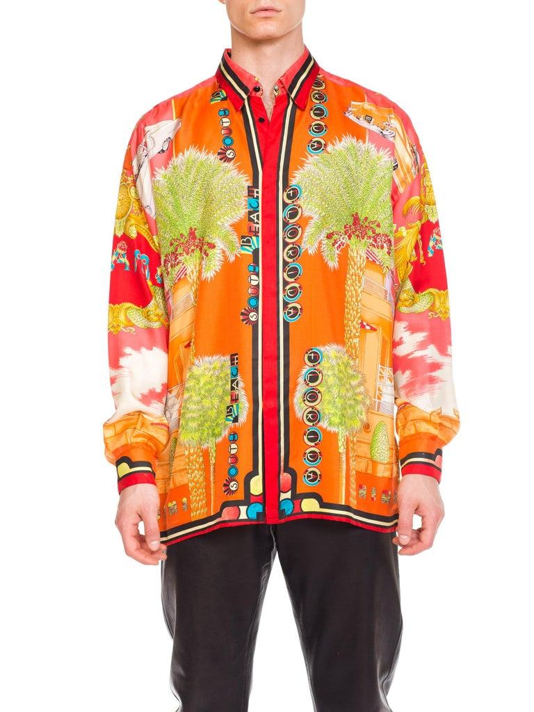 1990s Mens Gianni Versace South Beach 50s Pin Up Cadellac Silk Shirt Miami 8