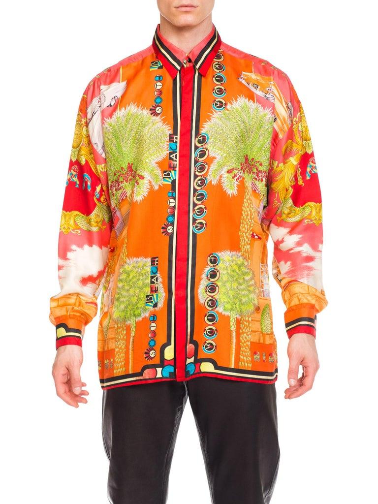 1990s Mens Gianni Versace South Beach 50s Pin Up Cadellac Silk Shirt Miami 10