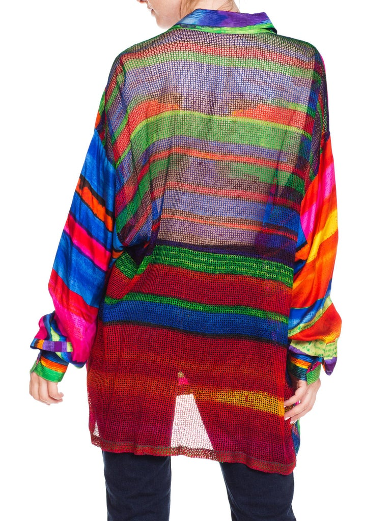 1990s Gianni Versace Colorblock Silk Shirt with Sheer Net Back Panel For Sale 1