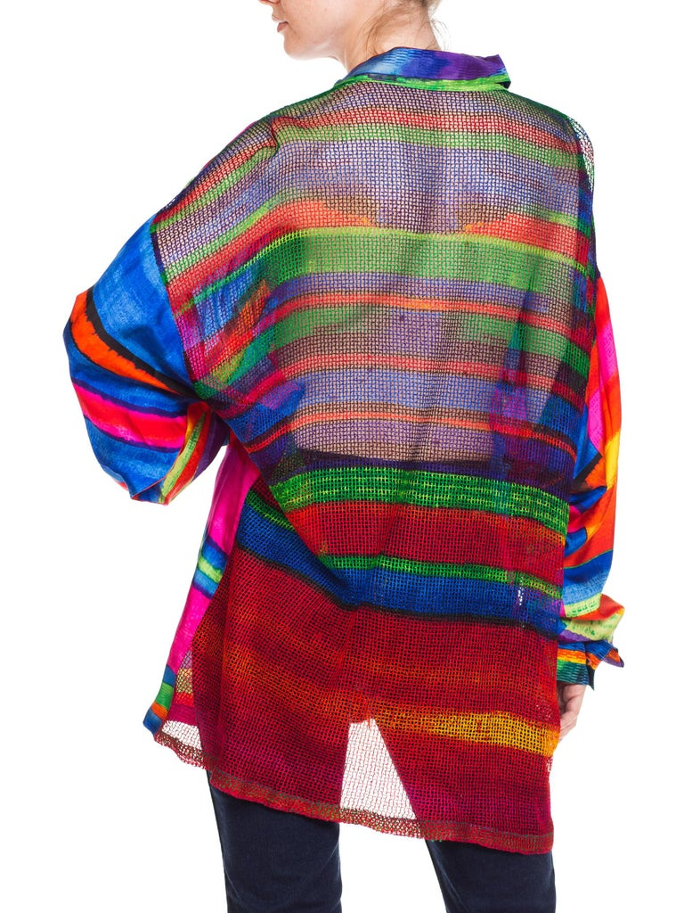 1990s Gianni Versace Colorblock Silk Shirt with Sheer Net Back Panel For Sale 2