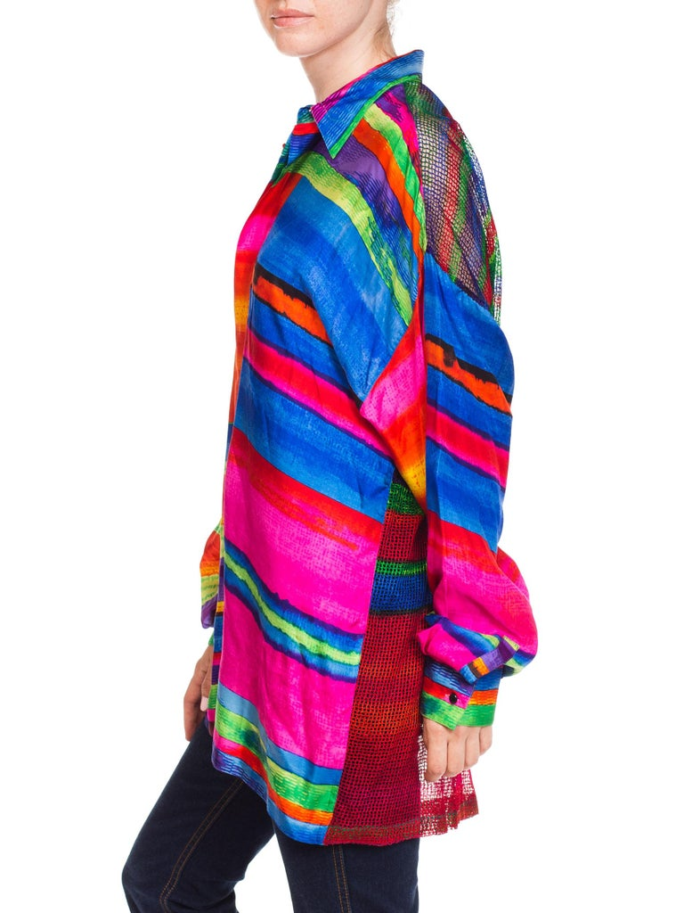 1990s Gianni Versace Colorblock Silk Shirt with Sheer Net Back Panel For Sale 3
