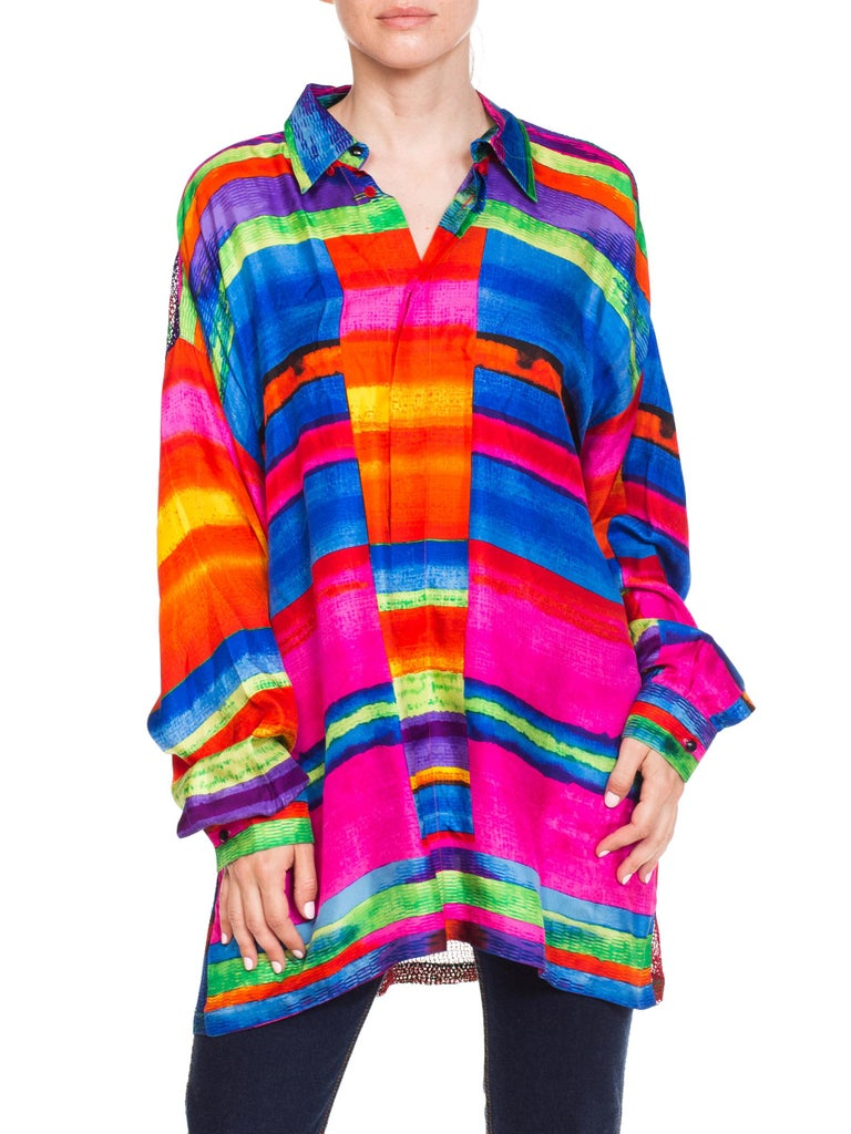 1990s Gianni Versace Colorblock Silk Shirt with Sheer Net Back Panel For Sale 5