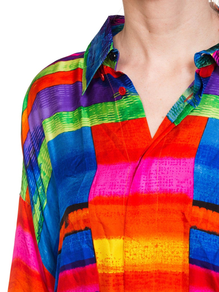 1990s Gianni Versace Colorblock Silk Shirt with Sheer Net Back Panel For Sale 9