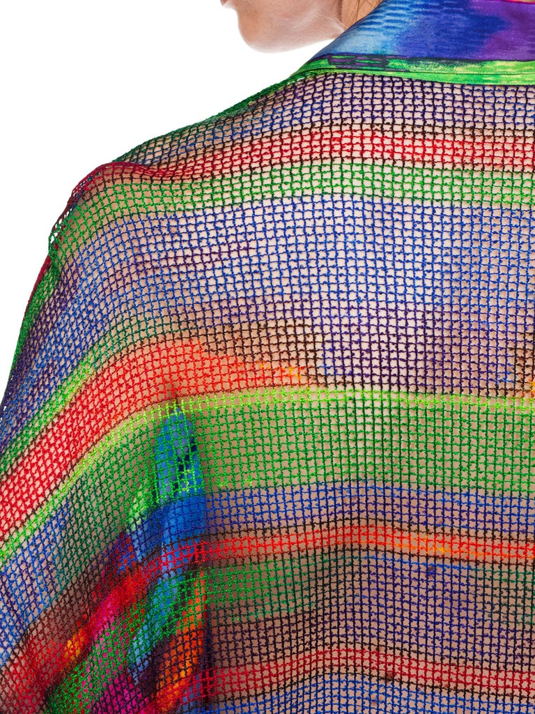 1990s Gianni Versace Colorblock Silk Shirt with Sheer Net Back Panel For Sale 8