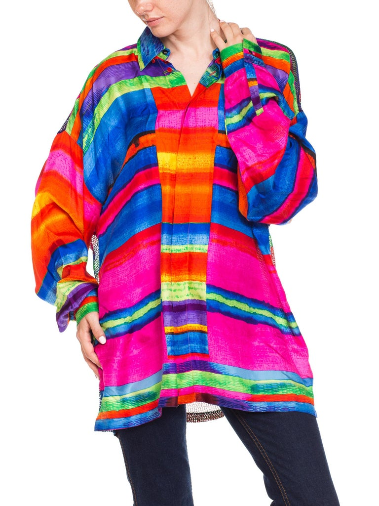 1990s Gianni Versace Colorblock Silk Shirt with Sheer Net Back Panel For Sale 6