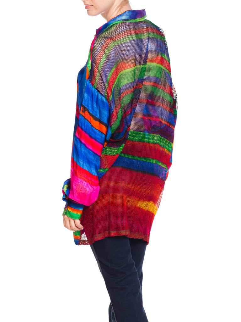 1990s Gianni Versace Colorblock Silk Shirt with Sheer Net Back Panel For Sale 7