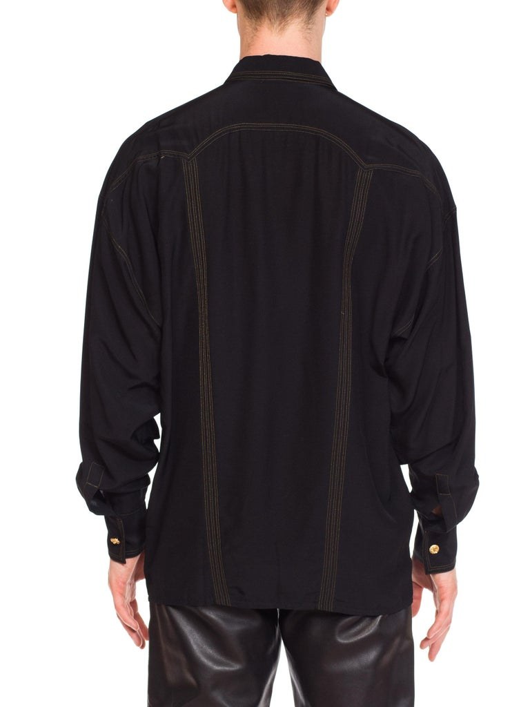 1990s Versace Istante Silk Shirt with Gold Stitching and Western Detalis For Sale 5