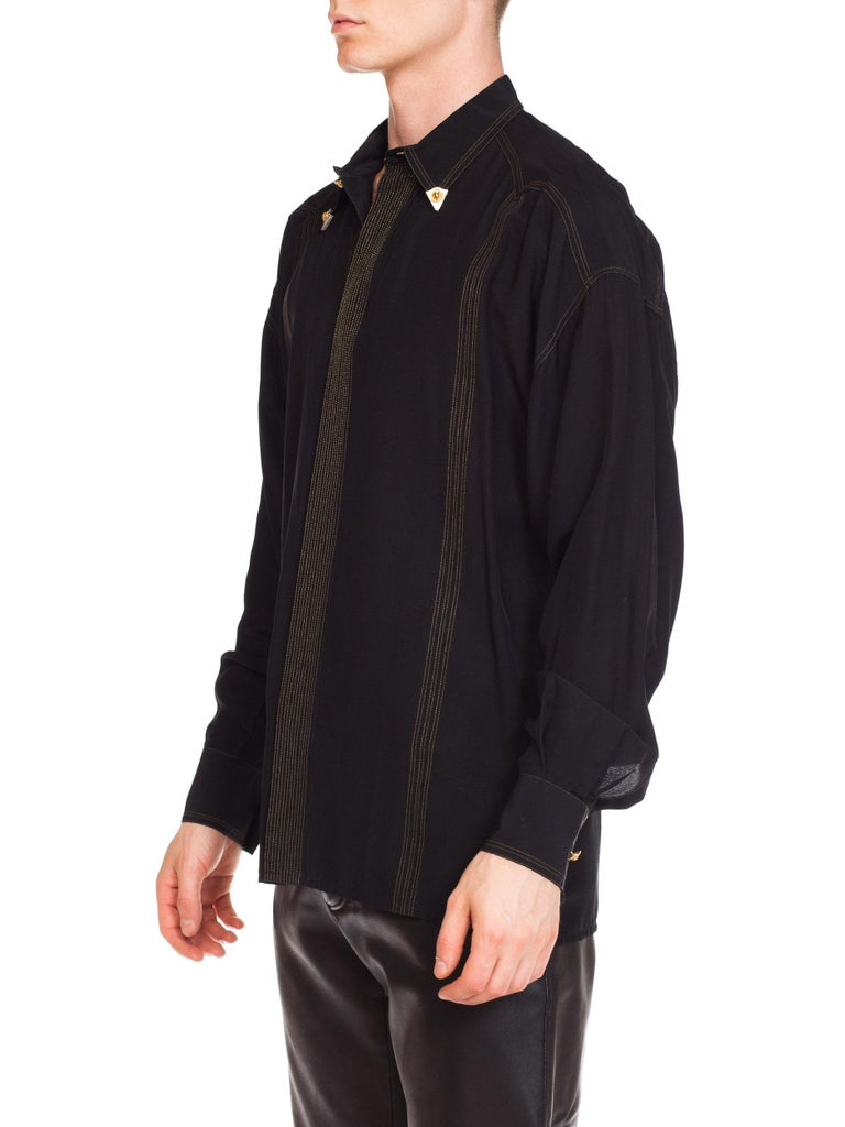 1990s Versace Istante Silk Shirt with Gold Stitching and Western Detalis For Sale 2