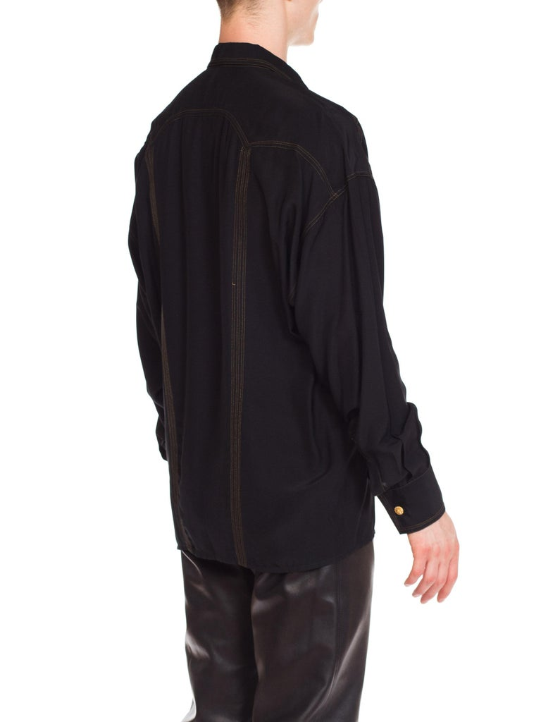 1990s Versace Istante Silk Shirt with Gold Stitching and Western Detalis For Sale 6