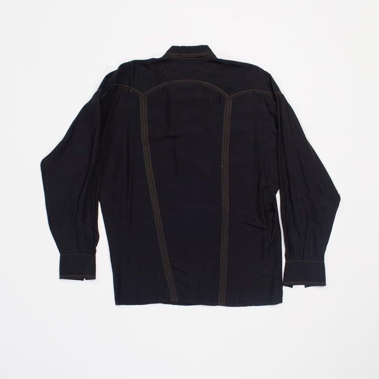 1990s Versace Istante Silk Shirt with Gold Stitching and Western Detalis For Sale 7