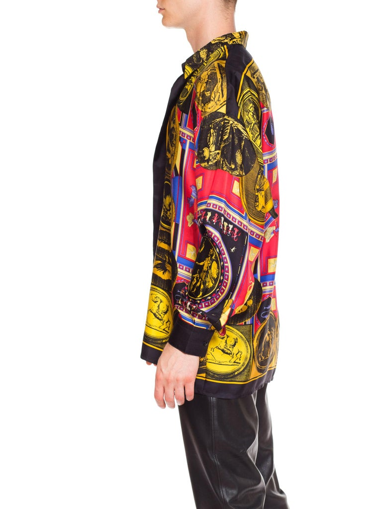 istante by versace Printed Julius Caesar Silk Shirt, 1990s  For Sale 2