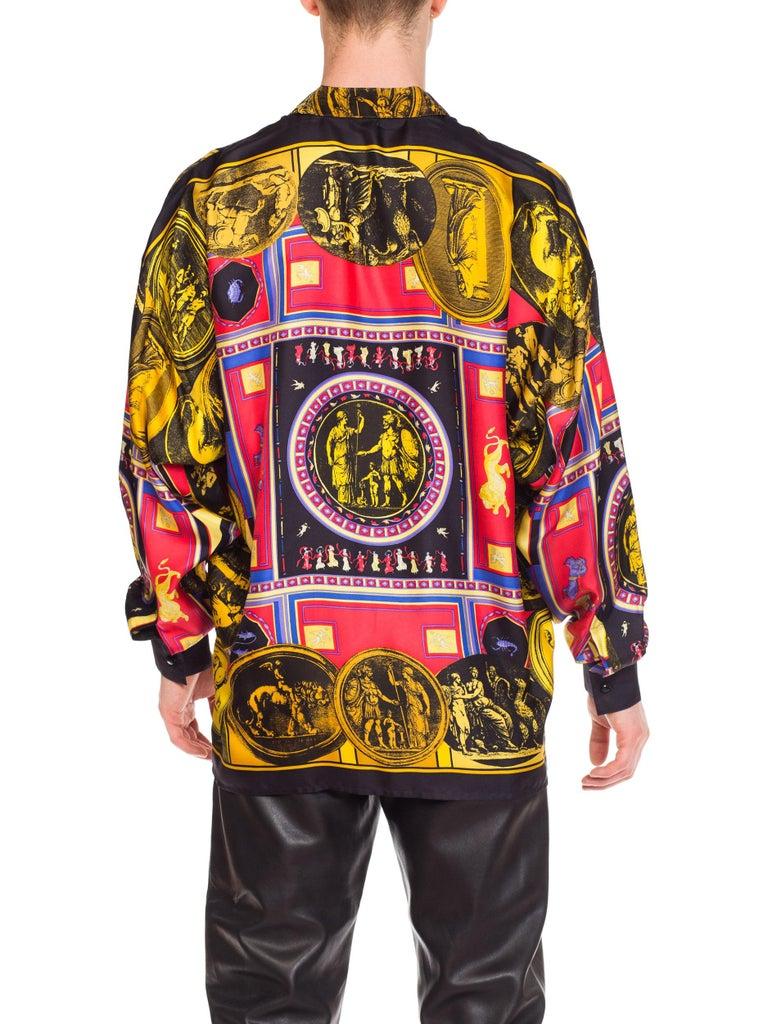 istante by versace Printed Julius Caesar Silk Shirt, 1990s  For Sale 4