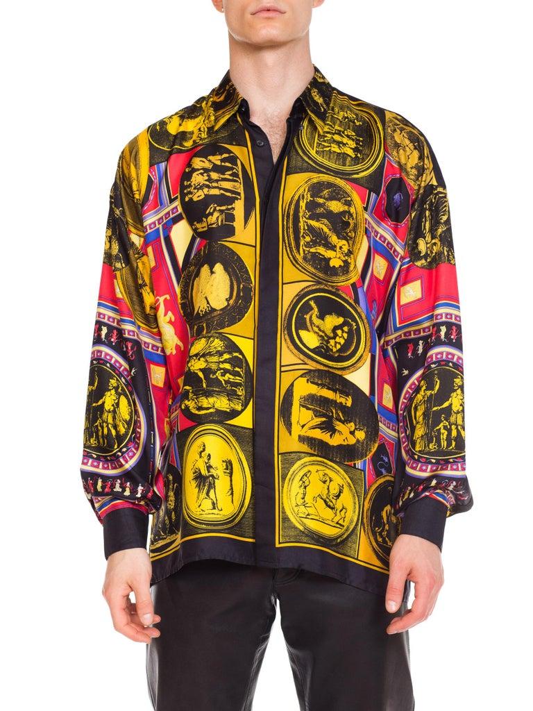 istante by versace Printed Julius Caesar Silk Shirt, 1990s  For Sale 6