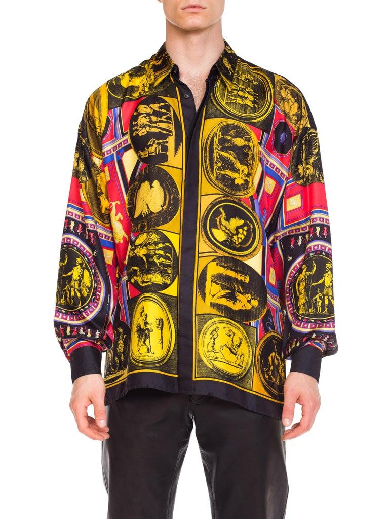 istante by versace Printed Julius Caesar Silk Shirt, 1990s  For Sale 7