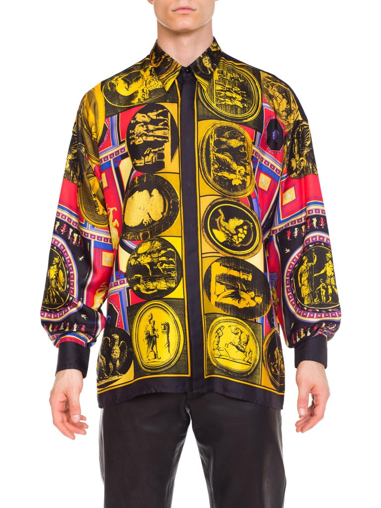 istante by versace Printed Julius Caesar Silk Shirt, 1990s  For Sale 9