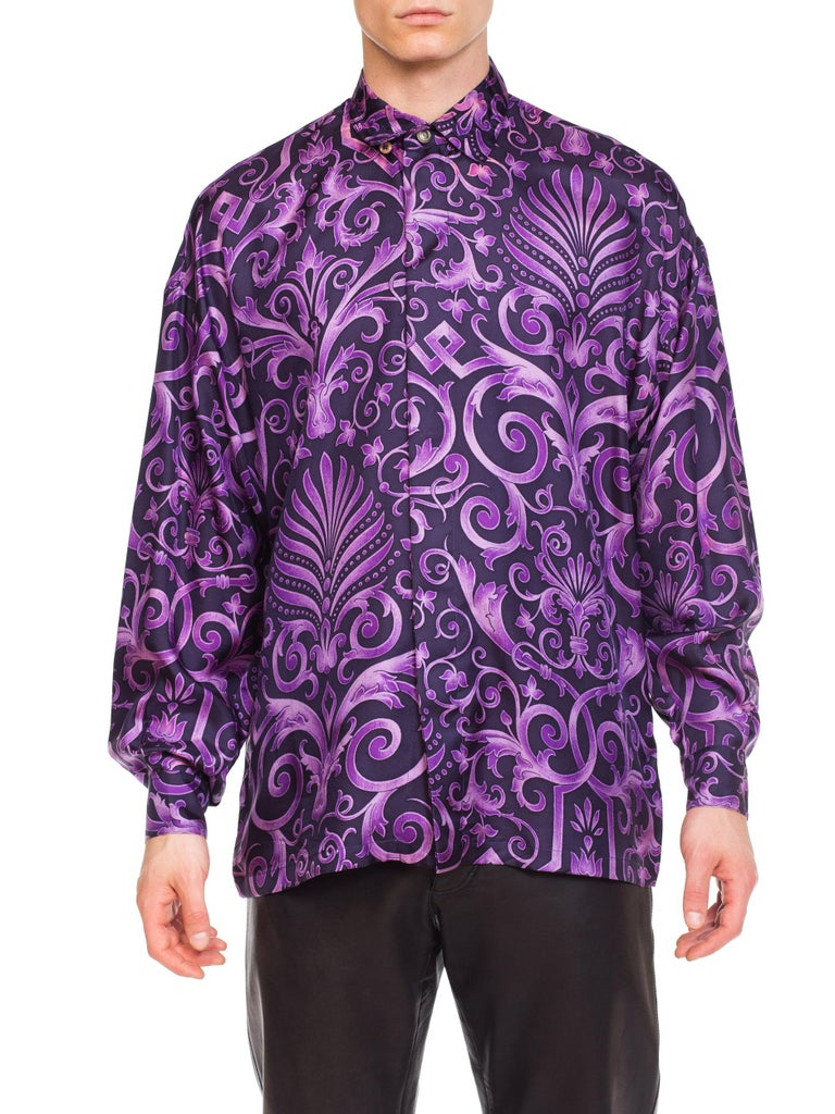 1990s Mens Gianni Versace Purple Baroque Print Silk Shirt For Sale
