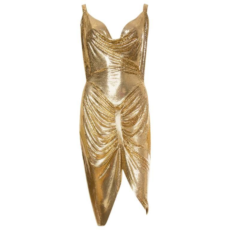 Gold Metal Mesh Dress  For Sale