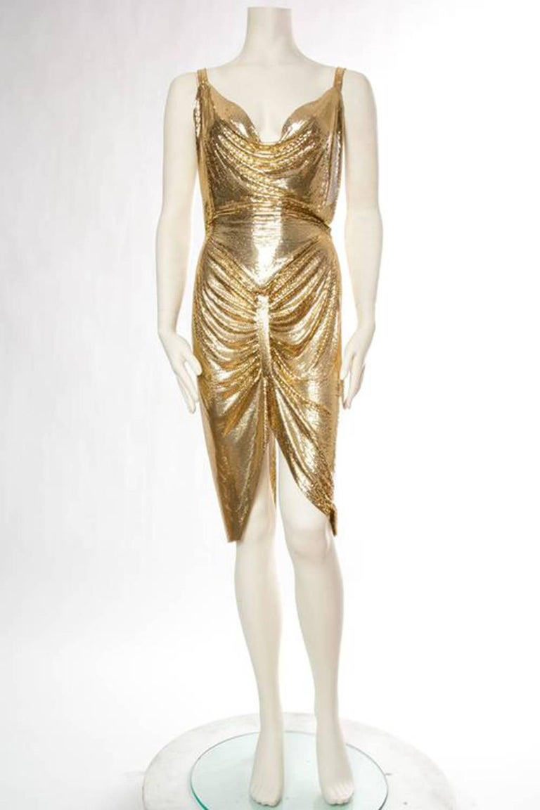Brown Gold Metal Mesh Dress  For Sale