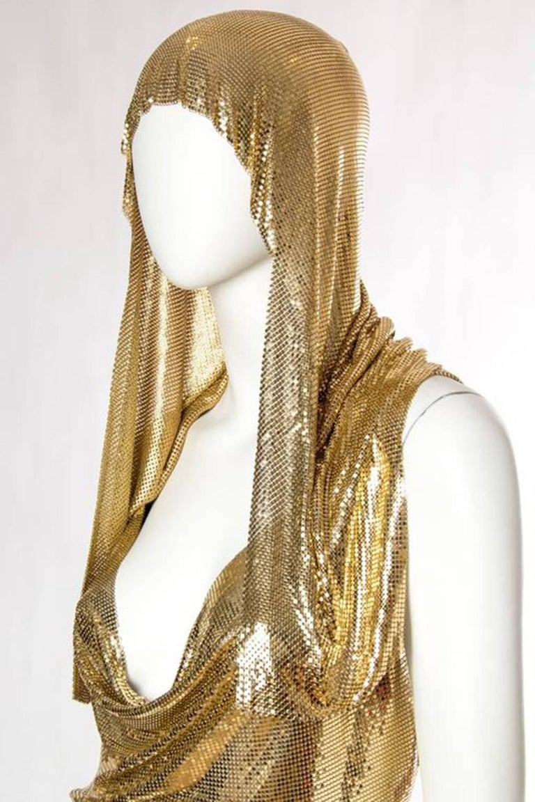 Gold Metal Mesh Dress  For Sale 3