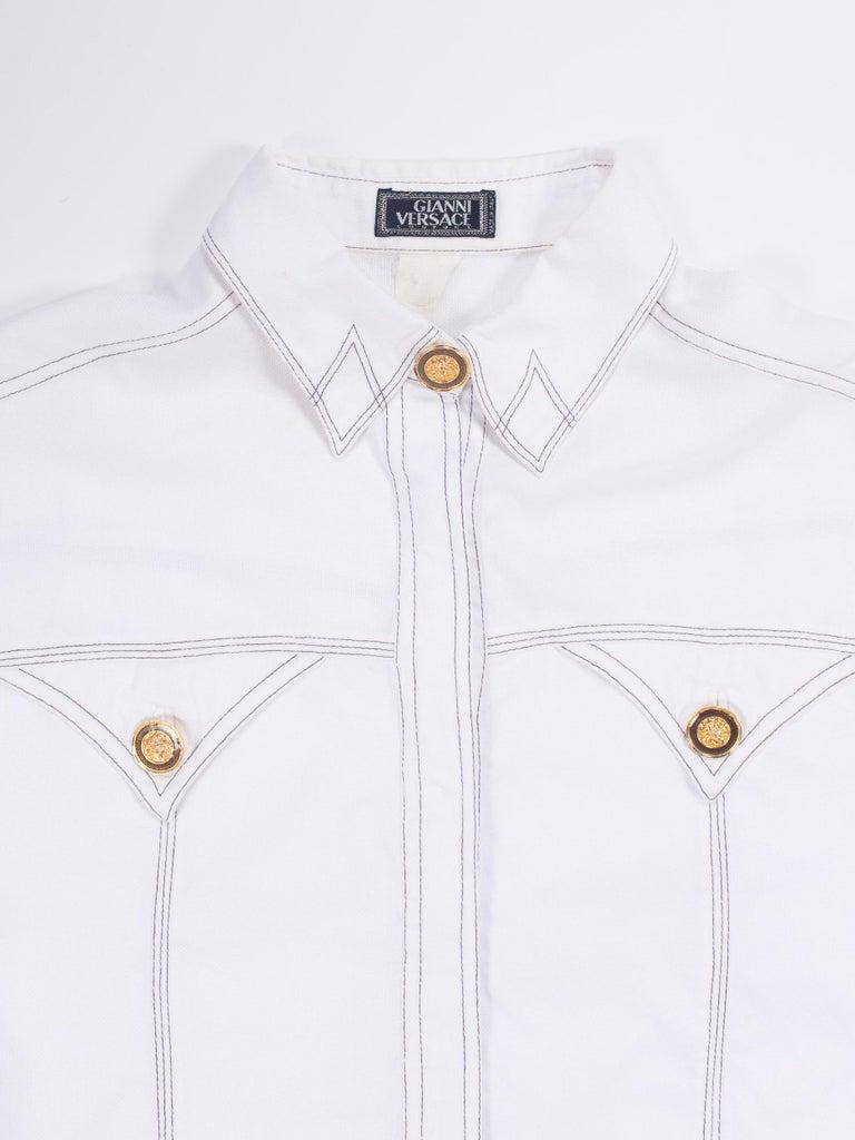 1990s Gianni Versace Couture White Cotton Medusa Button Shirt For Sale 10