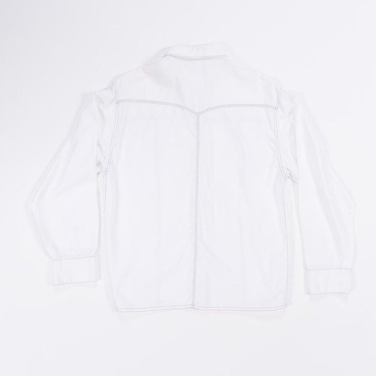 1990s Gianni Versace Couture White Cotton Medusa Button Shirt For Sale 11