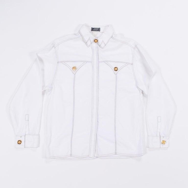 1990s Gianni Versace Couture White Cotton Medusa Button Shirt For Sale 12