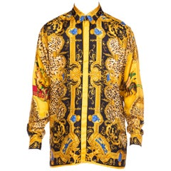1990s Gianni Versace Leopard Baroque Printed Silk Shirt