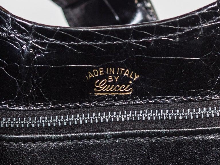 Black 1970s Crocodile Belly Original Gucci Stirrup Bag For Sale