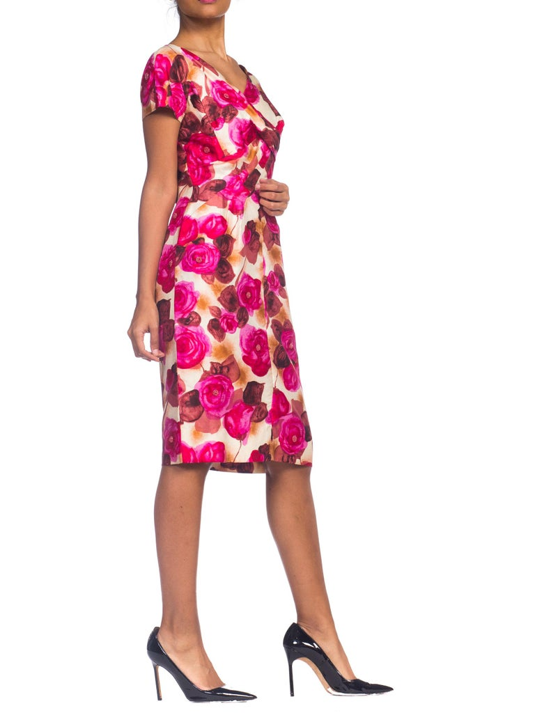 Pink 1950s Ceil Chapman Style Beaded Silk Floral Dress For Sale