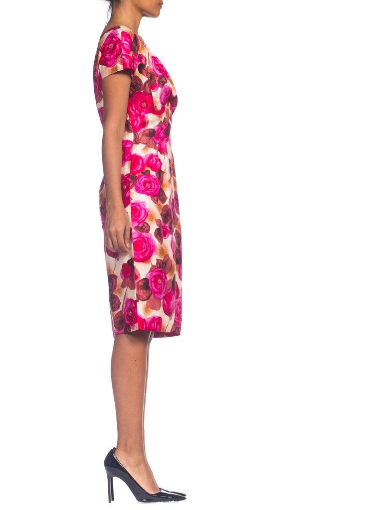 Women's 1950s Ceil Chapman Style Beaded Silk Floral Dress For Sale