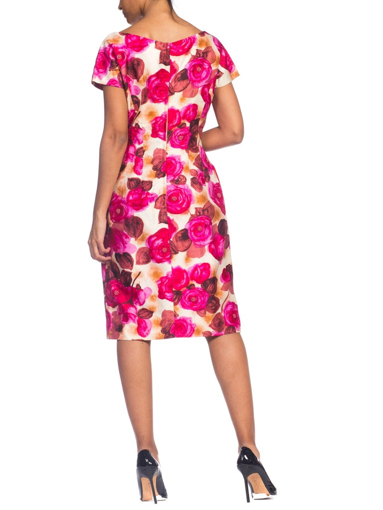 1950s Ceil Chapman Style Beaded Silk Floral Dress For Sale 2