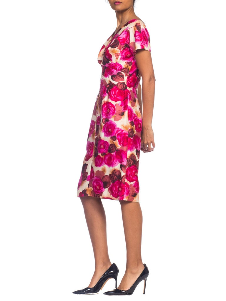 1950s Ceil Chapman Style Beaded Silk Floral Dress For Sale 4