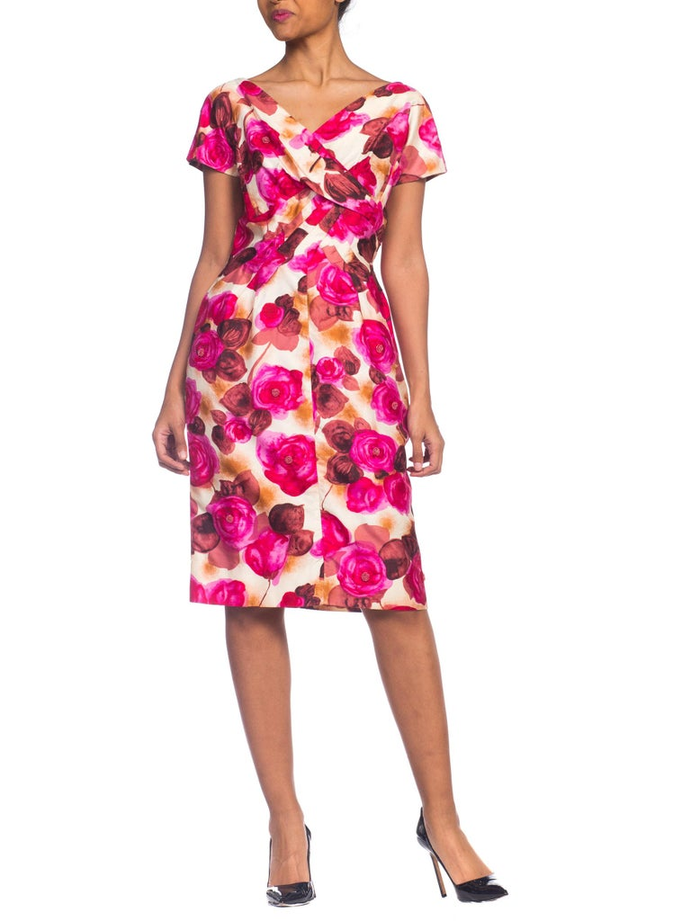 1950s Ceil Chapman Style Beaded Silk Floral Dress For Sale 5