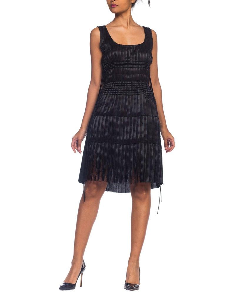 Black 2003 Alber Elbaz Lanvin Pleated Lace Cocktail Dress Runway Sample For Sale